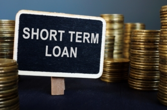 label of shortterm loan amoung bundle of coins